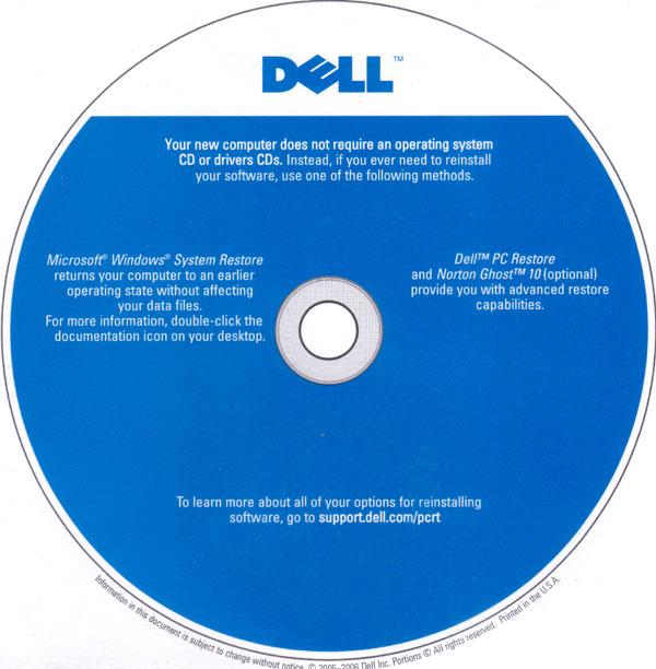 Dell Cardboard Restore CD
