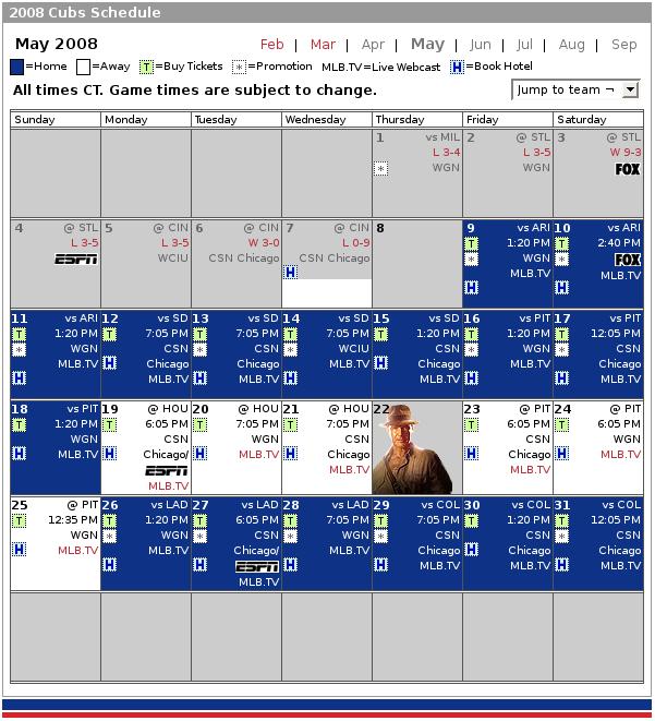 Cubs calendar