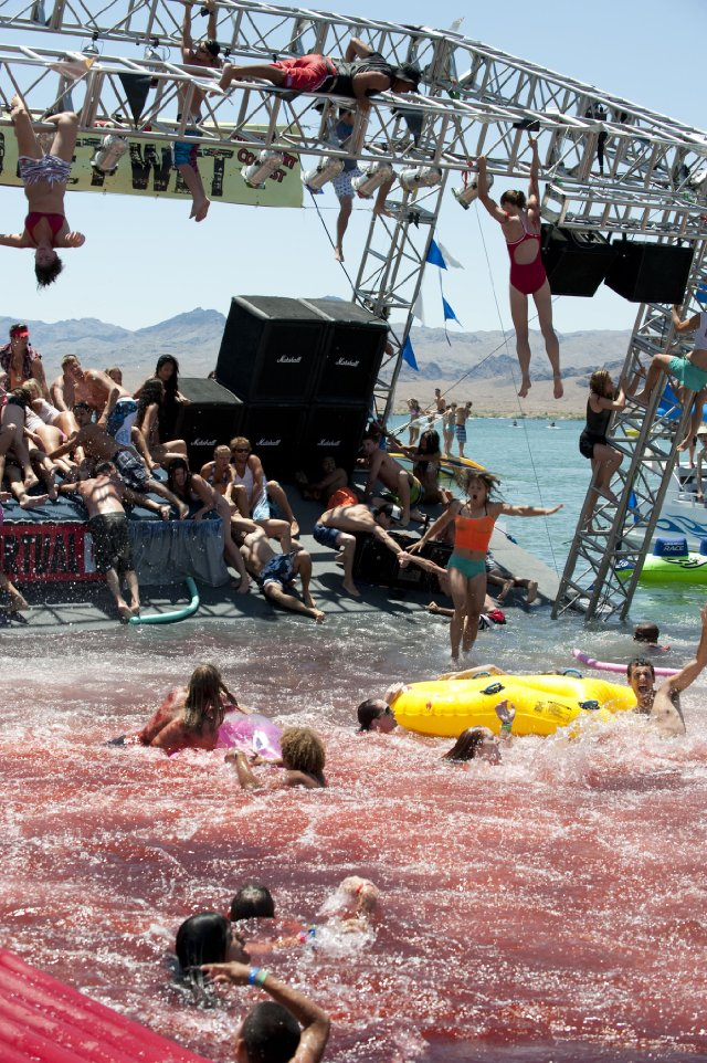 A floating spring break stage collapses